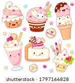 set of cute sweet icons in... | Shutterstock .eps vector #1797166828