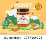 organic honey ad template with... | Shutterstock .eps vector #1797169228
