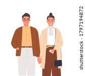 happy elderly couple holding... | Shutterstock .eps vector #1797194872