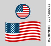 high quality american flag icon ... | Shutterstock . vector #1797200188
