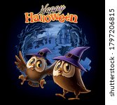 owls with wizard hat on... | Shutterstock .eps vector #1797206815