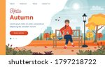 woman in autumn template ... | Shutterstock .eps vector #1797218722