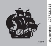 pirate ship. template for laser ... | Shutterstock .eps vector #1797221818