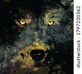 Nebula In Wolf Shape On Night...