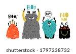 cartoon cute boo monsters....   Shutterstock .eps vector #1797238732