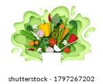 fresh vegetables falling into... | Shutterstock .eps vector #1797267202