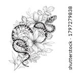 hand drawn twisted snake among...   Shutterstock .eps vector #1797279838