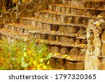 Small photo of Close-up steps of stairs up from antique stone in autumn season. The symbol of upsurge and success. Recreation. Parks. Autumn concept.