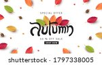 autumn calligraphy with leaves... | Shutterstock .eps vector #1797338005