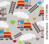 cute baby train seamless | Shutterstock .eps vector #179739386