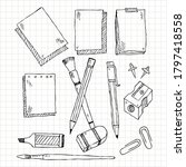 hand drawn stationery set.... | Shutterstock .eps vector #1797418558