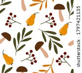 seamless autumn pattern with... | Shutterstock .eps vector #1797421135