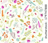 cute vector seamless floral... | Shutterstock .eps vector #179747888