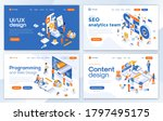 set of landing page design... | Shutterstock .eps vector #1797495175
