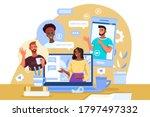 virtual meeting illustration...   Shutterstock .eps vector #1797497332