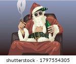 santa drinking and smoking    | Shutterstock .eps vector #1797554305