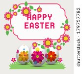 three decorated easter eggs in... | Shutterstock .eps vector #179757782