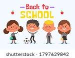 back to school kids go to...   Shutterstock .eps vector #1797629842