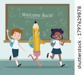 back to school kids go to...   Shutterstock .eps vector #1797629878