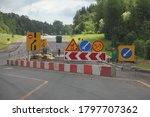Detour Of The Road Repair Site  ...