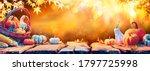 harvest table   pumpkins and... | Shutterstock . vector #1797725998