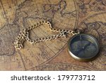 vintage compass on old map  | Shutterstock . vector #179773712