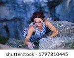 A Woman Is Climbing In Turkey ...