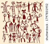 Cave Painting Vector Human And...