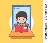 a boy enjoy reading for online...   Shutterstock .eps vector #1797856165