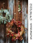 Fall Front Porch. Autumn Wreath ...
