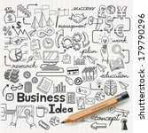 business idea doodles icons set....
