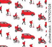 delivery service or courier...   Shutterstock .eps vector #1797927028