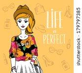 hipster girl. fashion geek... | Shutterstock .eps vector #179797385