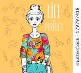 hipster girl. fashion geek... | Shutterstock .eps vector #179797418