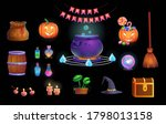 happy halloween. big set of... | Shutterstock .eps vector #1798013158