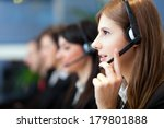 busy call center operators in a ... | Shutterstock . vector #179801888