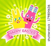 easter card with cute easter... | Shutterstock .eps vector #179804636