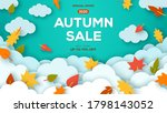 autumn sale blue background... | Shutterstock .eps vector #1798143052