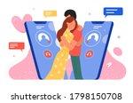 phone call dating vector... | Shutterstock .eps vector #1798150708