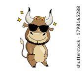 cool cartoon bull in sunglasses ... | Shutterstock .eps vector #1798165288
