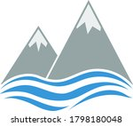 snow peaks cliff on sea icon....