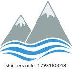 snow peaks cliff on sea icon....