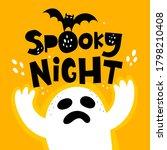 spooky night. cartoon ghost ... | Shutterstock .eps vector #1798210408