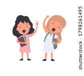 set of happy schoolchildren.... | Shutterstock .eps vector #1798261495