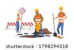 builders men repairing road.... | Shutterstock .eps vector #1798294318