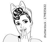 cute retro woman in comics... | Shutterstock .eps vector #179835632