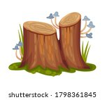 Wooden Stump With Mushrooms...