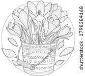 flowers in a bucket. crocuses...   Shutterstock .eps vector #1798384168