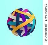 3d colored striped ball. art... | Shutterstock .eps vector #1798400932