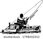 Silhouette Of A  Fisherman On...